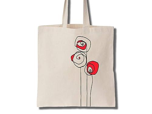 3 Rosas Bolsa Tote de Algodón Regalo Hombre Mujer: Amazon.es: Handmade