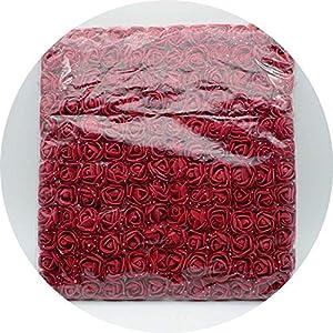 vibe-pleasure 144pcs/bag Mini PE Multicolor Fake Foam Rose Artificial Flowers Christmas Wreath Decor for Home Wedding DIY New Year Gifts,Dark red 40