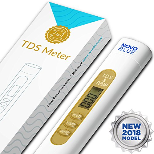 TDS Meter by NovoBlue - 2-in-1 Digital Tester Pen for Drinking Water, Hydroponics, Coffee, Aquarium, Pool, Hot Tub, Spa, Filtration, RO System - Detect PPM, EC, and Hardness