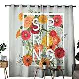 Flower Thermal Curtains Magazine Cover Like Design with Frame Spring Letters Floral Daisies Art Print 70%-80% Light Shading, 2 Panels,W72 x L96 Almond Green