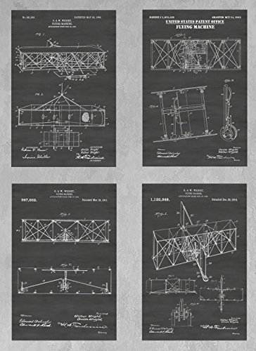 Wright Brothers Flying Machine - Early Airplane Wall Decor Collection: Set of Four Patent Print Art Posters: Choose From Multiple Size and Background Color Options ()
