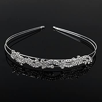 Amazon.com   FUMUD 2 Rows Ladies Rhinestone Crystal Split Fancy Hair  accessories Head Band Wedding Bride Silver Plated Party Jewelry   Beauty 7a012f42b7b