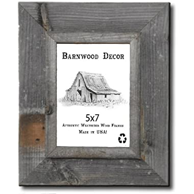 5x7 Picture Frames - Barnwood Reclaimed Signature Wall Frame with Plexi