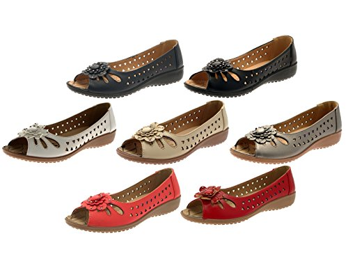 Lora Dora Womens Faux Leather Comfort Cut Out Flat Shoes Low Wedges Flower Sandals Ladies Size UK 3-8 White 9TAfOy2j