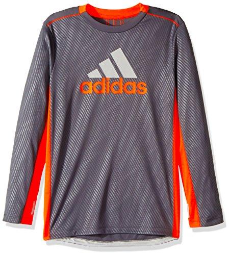 adidas Boys' Big Performance Logo Long Sleeve Tee Shirt, Grey Five M (10/12)
