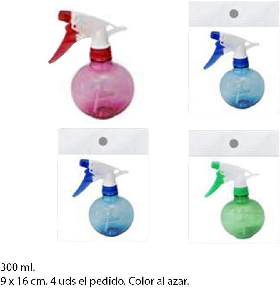 Pack de 4 Botellas de Spray de 300 ML Aprox, 16 x 9 cm, pulverizador para rociar Agua o líquidos (colonías, ambientadores, etc). Colores AL Azar.