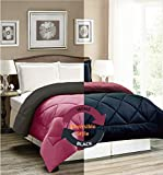 "AVI Newly Design Reversible Style 200 GSM Microfiber AC Comforter/Duvet/Quilt for Single Bed - (60""x 90"") inches, Black & Wine"