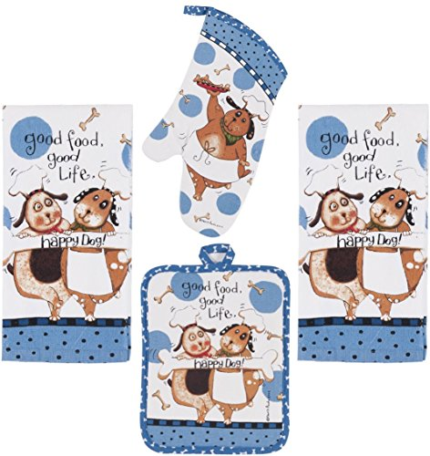 Kay Dee Designs 4 Piece Kitchen Bundle, Happy Dog, 2 Terry Cloth Drying Towels, Oven Mitt, Pot Holder, Dog Lover Set for (Dog Lovers Pot Holder)