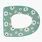 cushioned toilet seats sanitary Toilet Seat Lid Warmer Cover Pads Clearance - Iuhan Bathroom Warmer Toilet Seat Bowl Soft Adhesive Tape Flower Washable Cover Pad Big Promotion- Flower Pattern (Green)