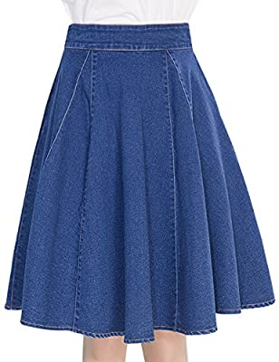 Tanming Women's Knee Length A-Line Pleated Denim Jean Midi Skirt