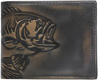 House of Jack Co. BASS FISH Double ID Bifold Wallet - Men's Leather Wallet - Hand Burnished Finish