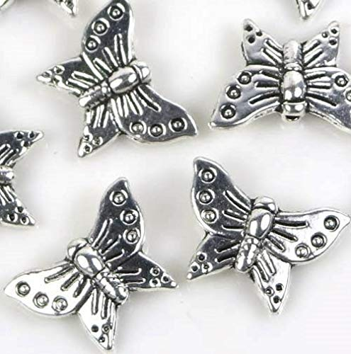 - 16X12Mm Antuque Silver Pewter Butterfly Bead (10)