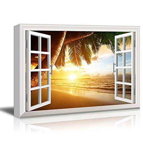 Creative Window View Sunrise on Caribbean Beach
