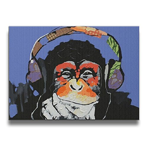 Modern Gorilla Monkey Music Wall Art Painting Canvas Painting Home Decor, 16x20 Inch, No Border (The Box Music Phantom Of Opera Monkey)