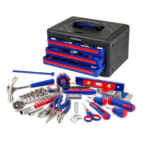 125PC Tool Set Home Repair Kit Pliers Sockets Bits Hex Key 3-Drawer Box