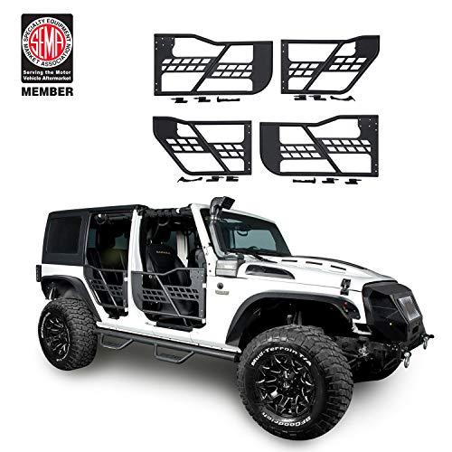 Offroad Steel Front & Rear Tube Half Doors for 2007-2018 Jeep Wrangler JK Unlimited 4-Door ()