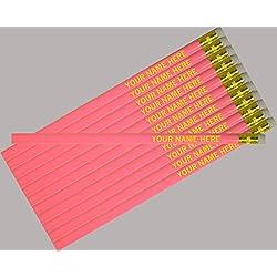 ezpencils - Personalized Pink Round Pencil - 12 pkg - ** FREE PERZONALIZATION **