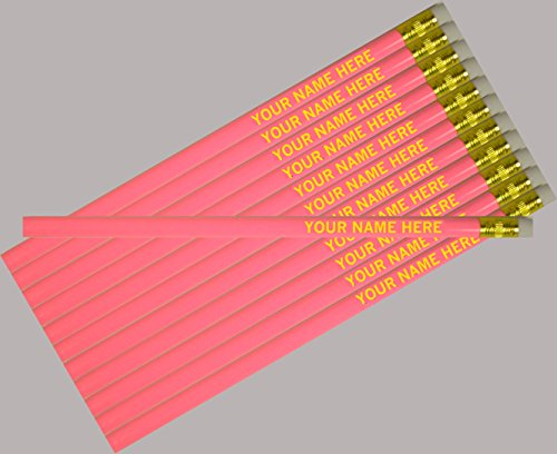 (ezpencils - Personalized Pink Round Pencil - 12 pkg - ** FREE PERZONALIZATION **)
