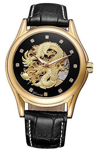 - Watches Mens Luxury Leather Men Automatic Mechanical Watch Dragon Collection Gold Skeleton Wrist Watch (Black Gold)