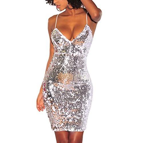 M.Brock Womens Sequin Glitter V Neck Sleeveless Bodycon Mini Dress Party  Club Dress 70 bf1b139d6