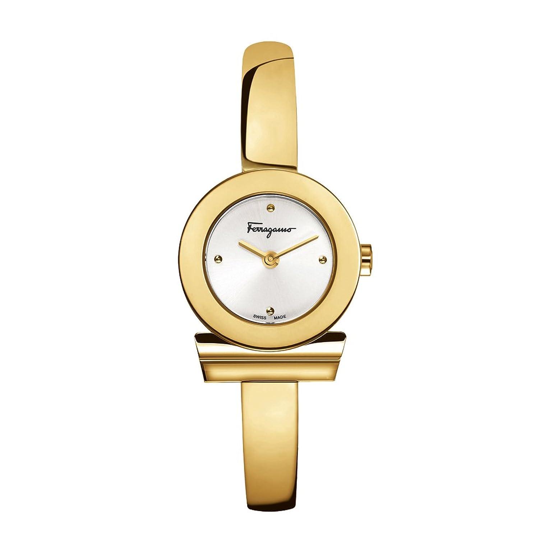 Salvatore Ferragamo Gancino Bracelet Damen Quarzuhr mit Silber Zifferblatt und Gelbgold Armreif Armband FQ5040013