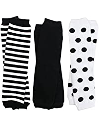 3 Pair Baby Boy And Girl Leg Warmers Black, white Neutral Colors