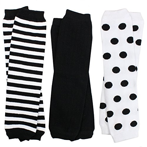 juDanzy 3 Pair Baby Boy And Girl Leg Warmers Black and White Stripes (One Size) (Leg Infant Warmers)