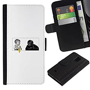 NEECELL GIFT forCITY // Billetera de cuero Caso Cubierta de protección Carcasa / Leather Wallet Case for Samsung Galaxy S5 Mini, SM-G800 // Funny Baby Plátano Y Mono del gorila
