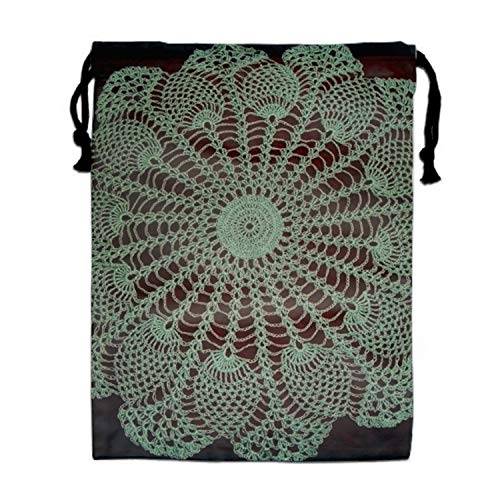 Portable Travel Pineapple Mint Doily Storage Traveling Tote Shoe Bags with Drawstring 11.8