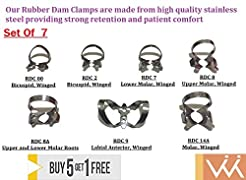 Wise Dental Rubber Dam Clamp Set /7 Clam...