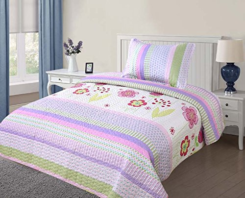 Floral One Light - Golden Linens Twin Size ( 1 Quilt, 1 Sham) Light Purple Pink Stripe Floral Kids Teens/ Girls Quilt Bedspread 07-16 Girls