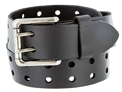 Ben Antique Twin Roller Buckle Vintage Leather Belt Black 38