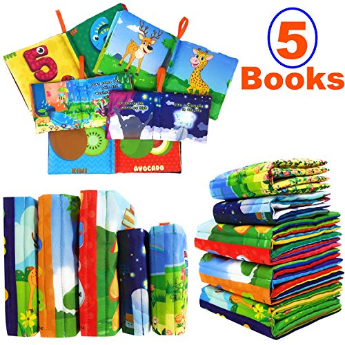 PlayShire Soft Books for Babies. 5 Cloth Books for Babies. Non-Toxic Newborn Books. Crinkle Books for Infants & Toddlers. Interactive Soft Baby Books Set. Touch and Feel Books Toy