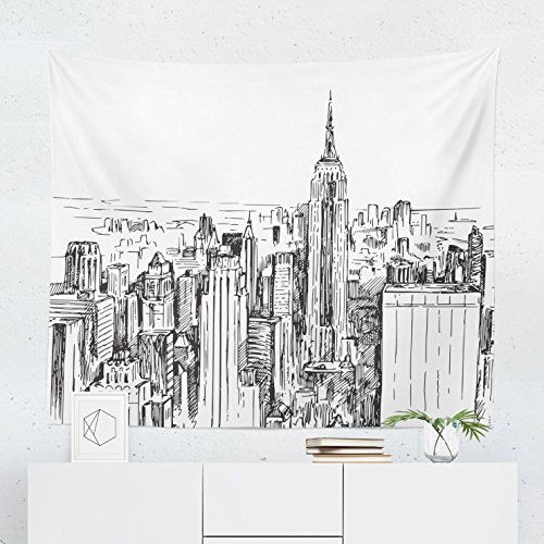 New York City Skyline Tapestry - NYC Empire State Building Wall Tapestries Hanging Décor Bedroom Dorm College Living Room Home Art Print Decoration Decorative - Printed in the USA - Small Medium Large ()