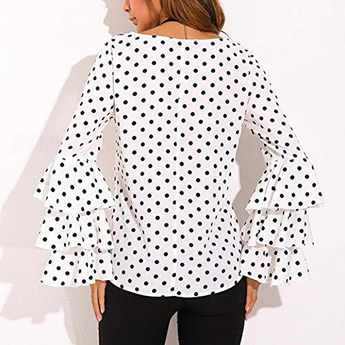 Lunghe Bianco Camicia Camicetta Pois Maniche Ampia Donne Donna Giacca Campana Top Eleganti A Da Casual Rx6An