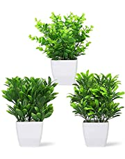 Tiferheart 3pcs Artificial Plants Mini Potted Plastic Fake Greenery Leaves Plants with Vase for Home Office Desk Room Greenery Decor