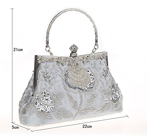 Wedding Sequined Evening Manual Style Purse Handbag Clutch Bags Vintage Silver MIMI Party KING Beaded For Women And qItvwP