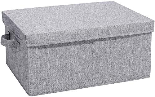 HOONEX Foldable Storage Bin with lid, 1 Pack, Storage Boxes with Carry Handles and Study Heavy Cardboard, for Toy, Boots, Books, Clothes, Linens, Nursery, Grey(7.5