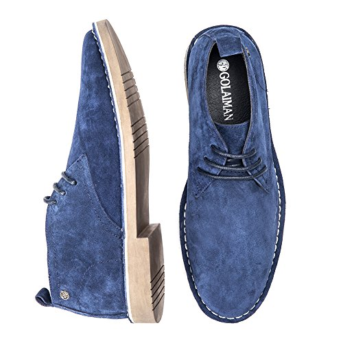 Golaiman Mens Suede Leather Chukka Boots Lace Up Casual Winter Ankle Desert Boots Navy JO9wlLAPQ9