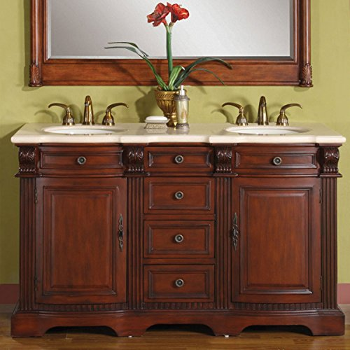 Silkroad Exclusive WFH-0197-CM-UWC-58 Cream Marfil Stone Top Double Sink Bathroom Vanity with Cabinet, 58 , Medium Wood