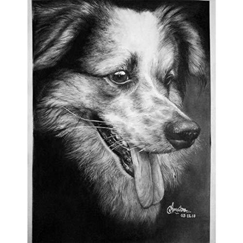 SmileMiddle Handmade Pet Portrait Charcoal Sketch,Photo to Sketch,Custom Portrait | Gifts for Wedding,Birthday,Anniversary,Girlfriend,Boyfriend