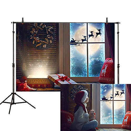 (Allenjoy 7x5ft Christmas Backdrop Winter Night Indoor Windowsill Santa Moon Reindeer Sleigh Shiny Gift Pillow Garland Wreath Curtain Photography Background Decoration Photo Studio)