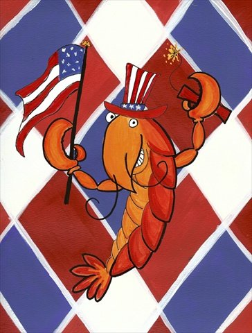 Caroline's Treasures LD6164CHF Crawfish Patriotic USA Flag Canvas, Large, Multicolor For Sale