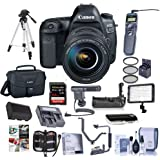 Canon EOS-5D Mark IV Digital SLR Camera Body Kit with EF 24-105mm f/4L is II USM Kit - Bundle with 64GB U3 SDXC Card, Camera Case, Tripod, Spare Battery, Battery Grip, Video Light and More