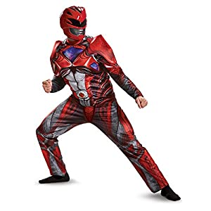 Disguise Mens Red Ranger Movie Muscle Adult Costume