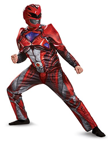 Disguise Men's Red Ranger Movie Muscle Adult Costume, -