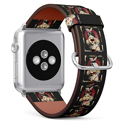 (Japanese Anime Girl) Patterned Leather Wristband Strap for Apple Watch Series 4/3/2/1 gen,Replacement for iWatch 38mm / 40mm Bands