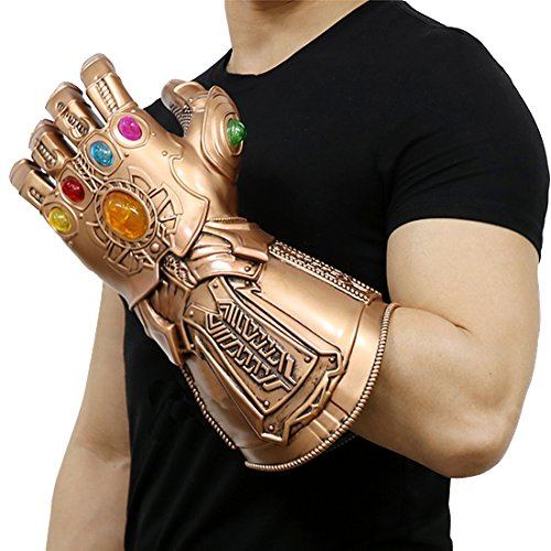 Zheng New Thanos Glove Costume Left Hand Gloves Infinity PVC Gauntlet V2
