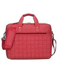 Burnur 15 15.6 Inch Red Plaid Waterproof and Shockproof Extendable Nylon Laptop Shoulder Bag Messenger Bag