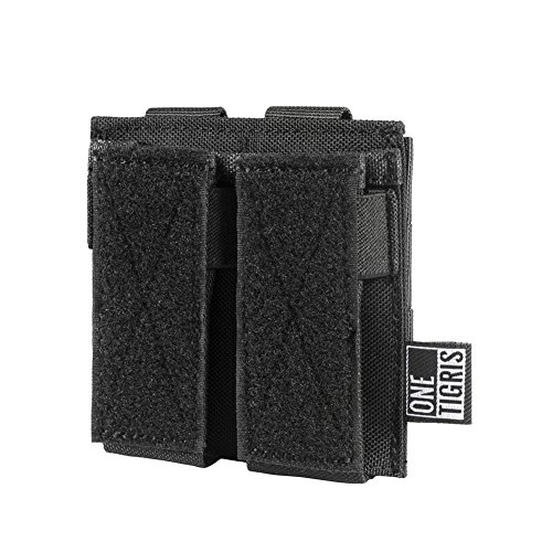OneTigris Single/Double/Triple Pistol Mag Pouch with Front Loop Panel for Glock M1911 92F Magazines 40mm Grenade (Double-Stack, Black)